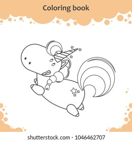 Color the cute cartoon little flying unicorn - coloring book for kids