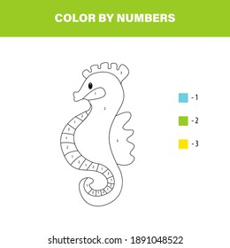Color cute seahorse by number. Educational math game for children. Coloring page.