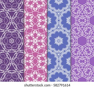 color decorative floral seamless pattern set. vector illustration. for design, interior, wallpaper, invitation