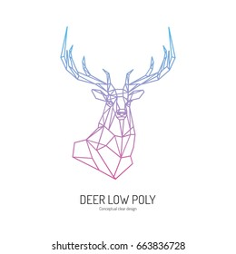 Color deer head linear wire construction sample logo. Polygonal geometric low poly style logo.