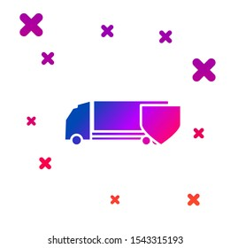 Color Delivery cargo truck with shield icon isolated on white background. Insurance concept. Security, safety, protection, protect concept. Gradient random dynamic shapes. Vector Illustration