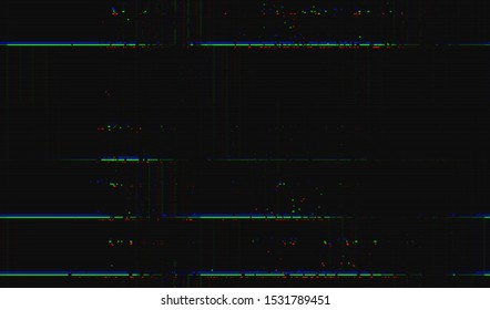 Color digital noise on a dark background. Wallpaper glitch texture. Image of a faulty satellite television broadcast. Vector illustration.