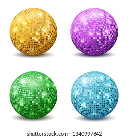Color disco balls. Realistic reflection ball mirrored disco party silver glitter equipment retro halo rays shining mirrorball isolated vector set