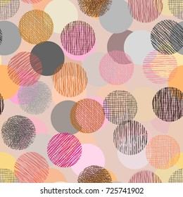 Color doodle in circle shape with seamless background.