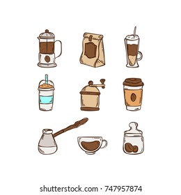Color doodle icon set coffee on white background