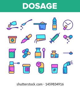 Color Dosage, Dosing Drugs Vector Linear Icons Set. Pharmacological Medications Dosage Outline Cliparts. Disease Treatment Prescription Pictograms Collection. Medical Therapy Illustration