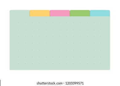 Color dot grid page notebook with tab dividers, vector mockup. Self stick memo pads block, template. Variegated sticky notes, mock up