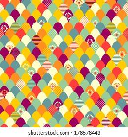 Color easter eggs abstract seamless pattern