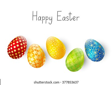 Color Easter eggs on white background