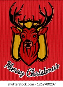 Color editable vector greeting merry christmas card template with deer.