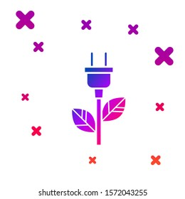 Color Electric saving plug in leaf icon isolated on white background. Save energy electricity icon. Environmental protection icon. Bio energy. Gradient random dynamic shapes. Vector Illustration