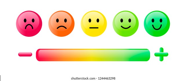Color emoticon. Set five faces scale, smile, neutral and sad in red, orange and green isolated on white with scale bar rating and plus and minus sign. Customer satisfaction feedback concept. Simple