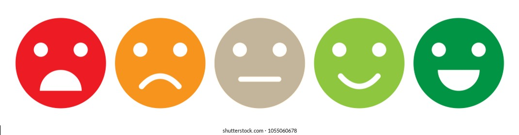 Color emotion Faces satisfaction level. Range to assess the emotions of your content. Feedback in form of emotions. User experience. Customer feedback. Excellent, good, normal, bad, awful.
