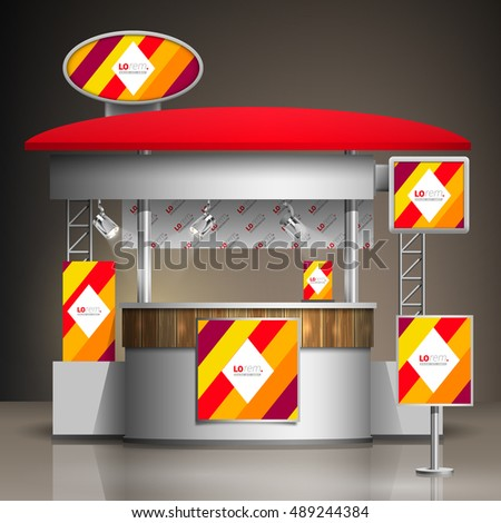 Small Exhibition Stand Vector : Color exhibition stand design red orange stock vector royalty