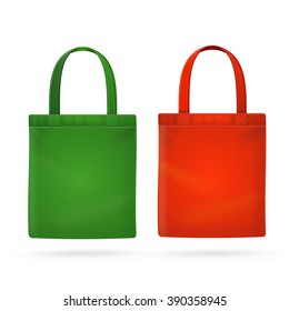 Color Fabric Cloth Bag Tote. Vector illustration