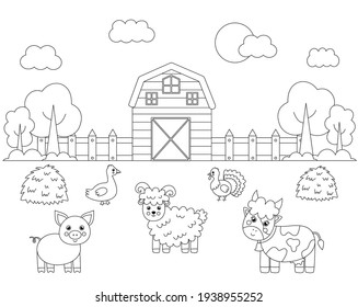 Color farm landscape with cute animals. Educational coloring page for kids.