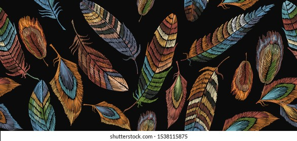 Color feathers horizontal seamless pattern. Classic embroidery. Fashionable template for clothes, t-shirt design. Tribal style, native american art