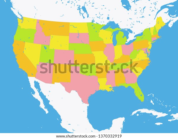 Color Federal States Map United States Stock Vector (Royalty ...