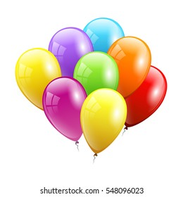 Color Festive Balloons. Birthday card. Vector illustration EPS 10.