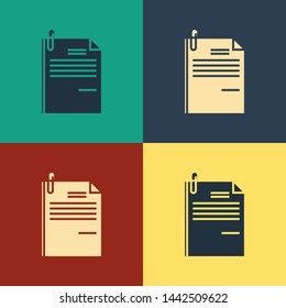 Color File document and paper clip icon isolated on color background. Checklist icon. Business concept. Vintage style drawing. Vector Illustration