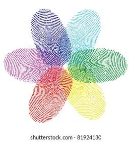 color fingerprint flower vector