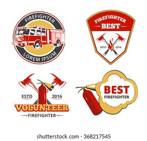 Color firefighter emblems, labels and badges vector set. Volunteer and protection, rescue and safety illustration