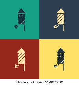 Color Firework rocket icon isolated on color background. Concept of fun party. Explosive pyrotechnic symbol. Vintage style drawing. Vector Illustration
