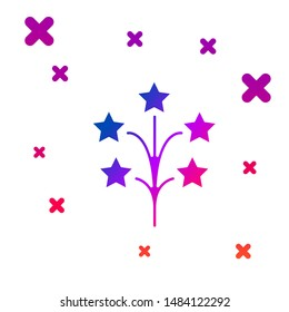 Color Fireworks icon isolated on white background. Concept of fun party. Explosive pyrotechnic symbol. Gradient random dynamic shapes. Vector Illustration