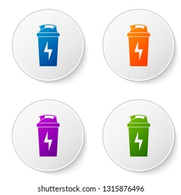 Color Fitness shaker icon isolated on white background. Sports shaker bottle with lid for water and protein cocktails. Set color icon in circle buttons. Vector Illustration