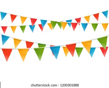 Color flags garland illustration. Vector template for a text