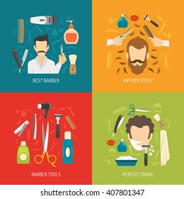 Color flat composition with barber services tools and man style of shave isolated vector illustration