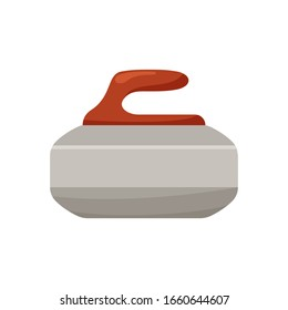 Color flat curling stone. Icon for illustration of winter game. Granite stone with red handle. Isolated vector emblem on white background