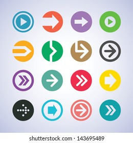 Color flat design arrow icon vector set. Circle sign button element for web, mobile apps and user interface design