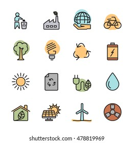 color flat ecology energy icon set, vector eps10.