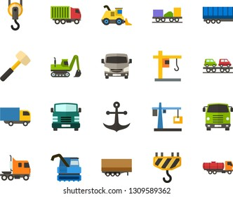Color Flat Icon Set - anchor flat vector, lorry, hoisting crane, sledgehammer, hook, semi trailer, truck cab, freight train, car carrier, front view, combine harvester, excavator, cistern