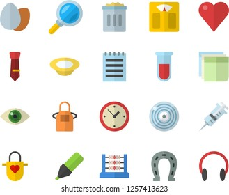 Color flat icon set apron flat vector, egg, dish, horseshoe, magnifier, marker, blood test, syringe, heart, abacus, sticker, tie, notepad, weighing machine, trash can, clock, eye, target, headset