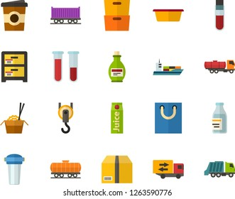 Color Flat Icon Set - archive flat vector, parcel, juice, chinese food, coffee, packet, blood test, mixture, trucking industry, water filter, basin, hook, freight train, cargo ship, cistern