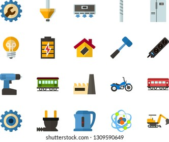 Color Flat Icon Set - atom flat vector, gear, charge the battery, settings, refrigerator, smart house, factory, electric plug, conditioner, kettle, lamp, extension cable, sledgehammer, drill bit