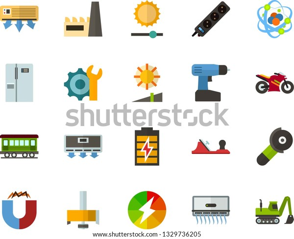 Color Flat Icon Set Atom Flat Stock Vector (Royalty Free