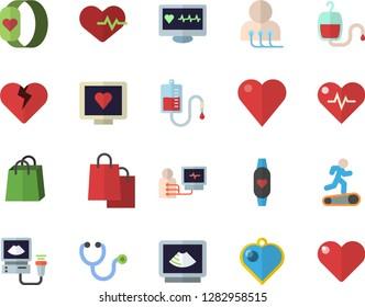 Color flat icon set bags flat vector, blood transfusion, heart, computer diagnostics of health, stethoscope, ultrasound, heartbeat, Treadmill, fitness bracelet, pendant fector