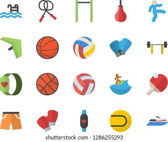 Color flat icon set barbell flat vector, basketball, volleyball, skipping rope, parallel bars, sports pear, athletic shorts, tennis ball, boxing gloves, gymnastics, pool, fitness bracelet, table
