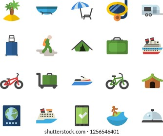 Color flat icon set bicycle flat vector, trailer fector, hike, suitcase, passport, check in, tent, luggage, sea beach, chaise lounge, island, surfing, swimming mask, trolley, water scooter, jingle