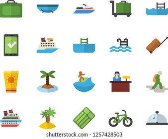 Color flat icon set bicycle flat vector, pool, hike fector, luggage, suitcase, check in, sea beach, sun protection cream, island, surfing, trolley, reception desk, water scooter, cruise ship, jingle