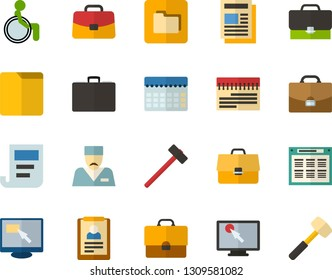 Color Flat Icon Set - briefcase flat vector, schedule, summary, planning, find in computer, places for people with disabilities, doctor, folders, hammer, sledgehammer