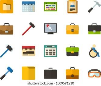 Color Flat Icon Set - briefcase flat vector, schedule, summary, planning, find in computer, places for people with disabilities, folders, hammer, sledgehammer, construction glasses