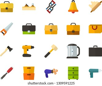 Color Flat Icon Set - briefcase flat vector, school bell, archive, schoolbag, rolling pin, packet, crutches, hairdryer, electric kettle, saw, axe, sledgehammer, chisel, planer, cordless drill