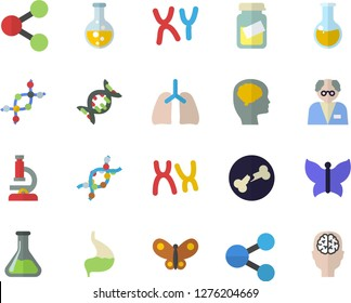 Color flat icon set butterflies flat vector, chemistry, molecules, medical analysis, DNA, chromosomes, bone fracture, stomach, lungs, microscope, scientist, brain fector