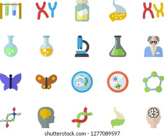 Color flat icon set butterflies flat vector, chemistry, medical analysis, DNA, chromosomes, stomach, flask, molecule, microscope, scientist, beakers, Petri dish, brain fector