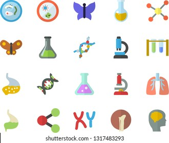 Color flat icon set butterflies flat vector, chemistry, molecules, medical analysis, DNA, chromosomes, bone fracture, stomach, lungs, flask, molecule, microscope, beakers, Petri dish, brain fector