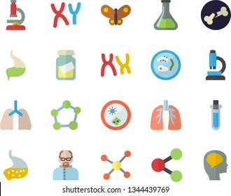 Color flat icon set butterflies flat vector, chemistry, molecules, medical analysis, chromosomes, bone fracture, stomach, lungs, molecule, microscope, scientist, beakers, Petri dish, brain fector